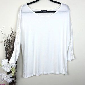 Vince White Top Base Layer Leather trim blouse